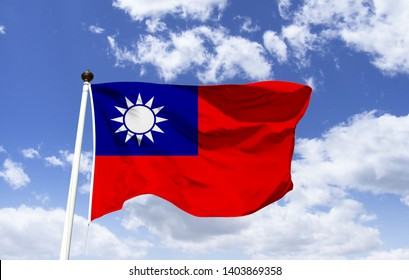 Taiwan flag mockup fluttering in the wind. White symbolizes equality and democracy. The blue, freedom and nationalism, the red the fraternity. Sun with 12 rays, representing the months of the year.