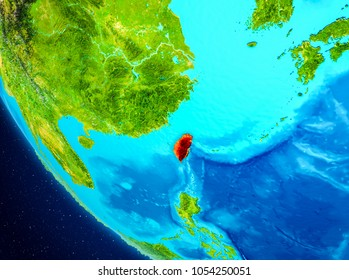 Taiwan highlighted in red on planet Earth. 3D illustration. Elements of this image furnished by NASA.