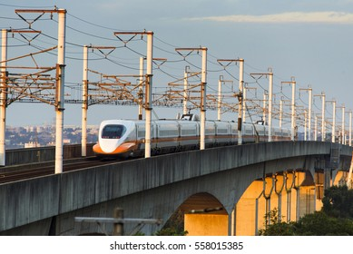 Taiwan Jan.,16 2017: North bone High Speed Rail at sunset time, Taiwan-Jan.,16, 2017