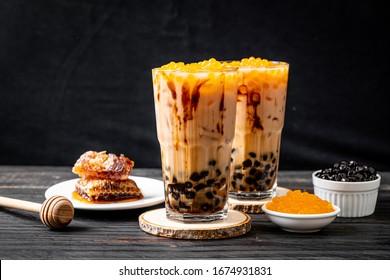 Taiwan milk tea with bubble on wood table