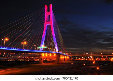 Taiwan New Taipei City, the city and the bridge in the night quiet beauty.