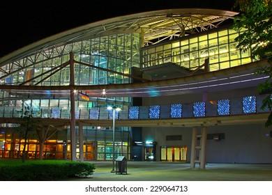Taiwan - October 12, 2014: The Taiwan's Hsinchu High Speed Rail Station at night