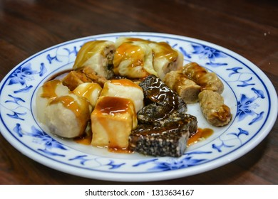 Taiwan oden on traditional ceramic plate