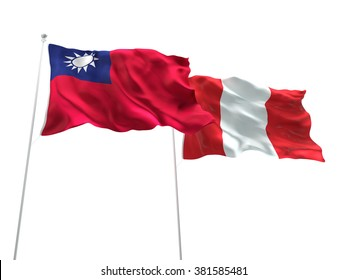Taiwan & Peru Flags are waving on the isolated white background