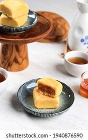 Taiwan Pineapple Cake Pastry, Taiwanese Famous Sweet Delicious Dessert Food (Nastar Taiwan or Nastar Hongkong) with Tea, Copy Space Design.