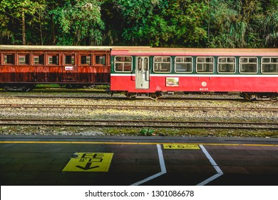 Taiwan Railway with signature red wooden train bogies at Historical Alishan Forest Train Station, Alishan, Taiwan, January 2019