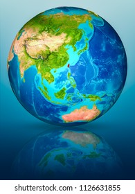 Taiwan in red on model of planet Earth on reflective blue surface. 3D illustration. Elements of this image furnished by NASA.