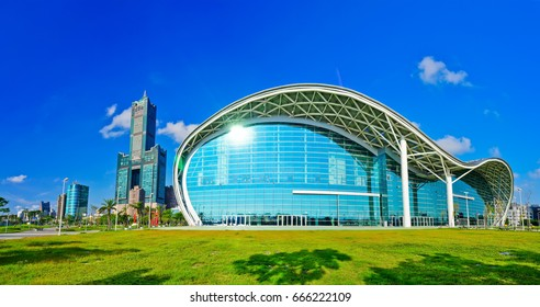Taiwan - September 5, 2015: View of the Kaohsiung Exhibition Center and the 85 story Tuntex Tower in a sunny day on September 5, 2015 in Kaohsiung, Taiwan.