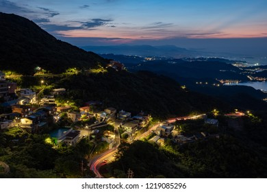 Taiwan, Taipai, Jiufen  - August 21,2018 ,18.20  - Night view from Jiufen to the beach of taipei .Jiufen is good view and good style like tale .small village small road. many tourists visit all day