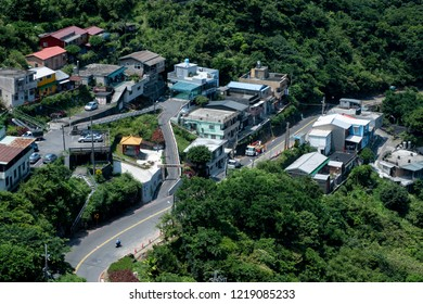 Taiwan. Taipei. Jiufen. August 22, 2018 - 12.00, Small village on the hill in the forest with small road, View from Jiufen Village you can see many small village area on the hill