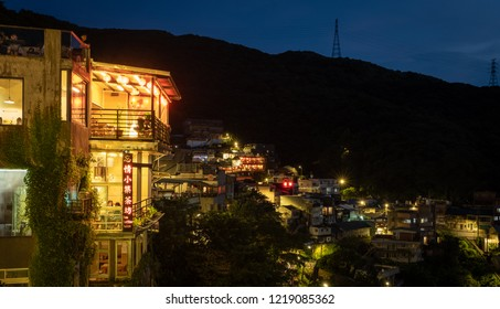 Taiwan. Taipei .Jiufen - August 25, 2018 - 20.30-Night view from Jiufen village .can see ocean and the beach .small village in forrest .