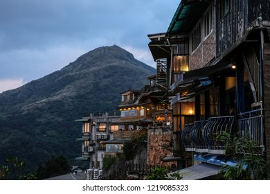Taiwan, Taipei ,Jiufen- December 24,2017 - 17.30 - Many Tea house shop cafe in Jiufen village for sightseeing .Taipei view night and day .beutyfull vintage taiwan style