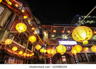 Taiwan. Taipei. Jiufen. December 25,2017 -20.00-Jiufen old street has small slope  road for walk and shoping .House ,shop and restaurant is Chinese vintage style.
