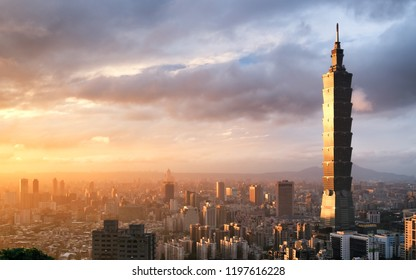 TAIWAN, TAIPEI - NOVEMBER 2016: Taipei is a capital city of Taiwan. Asia business concept image, panoramic modern cityscape building bird's eye view, shot in Taipei, Taiwan.
