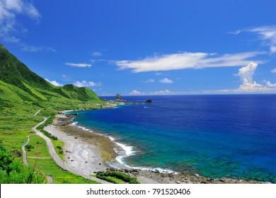 Taiwan, Taitung, orchid island, blue sky, island and coastline clear beach panorama.