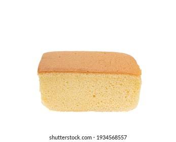 Taiwanese castella cake, a close up of homemade taiwan sponge cake bakery dessert isolated on white background.