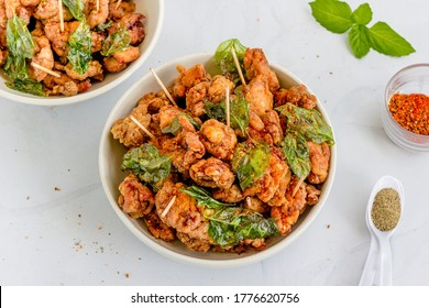 Taiwanese Deep Fried Chicken, Taiwanese Street food with Spices and Seasonings Top Down Photo