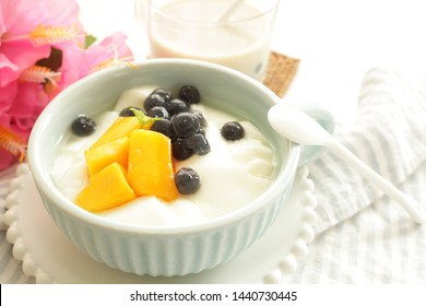 Taiwanese food, black pearl tapioca  custard tofu and milk tea