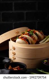 Taiwanese gua bao, Asian hamburger or sandwich from steamed bun