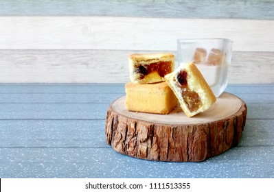 Taiwanese traditional dessert, pineapple cake on a wooden plate