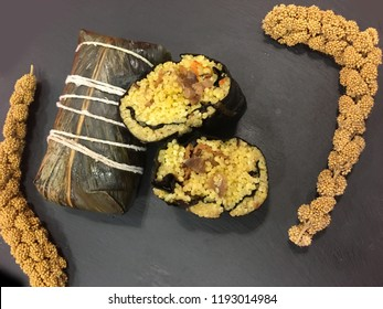 Taiwan's aboriginal traditional food made with glutinous rice & pork wrapped in leaves