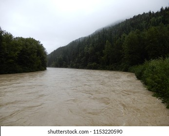 The Taiya River nears flood stage after heavy rains combined with greater than average glacial melt. The flooding caused the Chilkoot Trail to be closed to hikers.