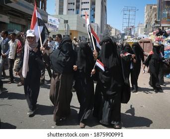 Taiz _ Yemen _ 03 Nov 2015 : Yemeni women take part in the demonstrations and protests in the city of Taiz, Yemen