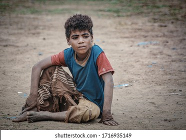 Taiz _ Yemen _ 17 Apr 2020: A poor Yemeni child from Taiz who lives in a bad economic situation due to the ongoing conflict in the country for the sixth year in a row and is on the verge of collapse!