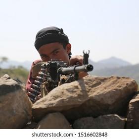 Taiz / Yemen - 02 Nov 2016: Soldier fighting in the ranks of the legitimate army against Al-Houthi militia in the West of Taiz City, Yemen.