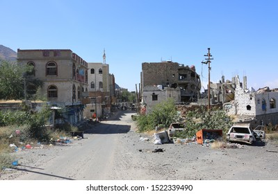 Taiz / Yemen - 05 Dec 2016 : Massive destruction of homes caused by war between the national army and Al-Houthi militia in the east of Taiz City,Yemen