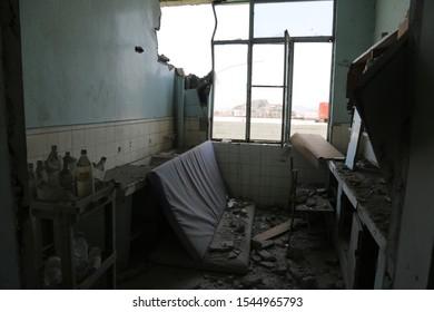 Taiz / Yemen - 09 Oct 2016: Destruction of Al-Thawra Hospital in Taiz due to shelling by Al-Houthi militia.