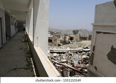 Taiz / Yemen - 18 Aug 2016 : The destruction of people homes due to the war on Taiz City .