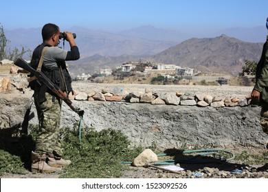 Taiz / Yemen - 18 Nov 2016 : Soldier fighting in the ranks of the legitimate army against Al-Houthi militia in the West of Taiz City, Yemen.