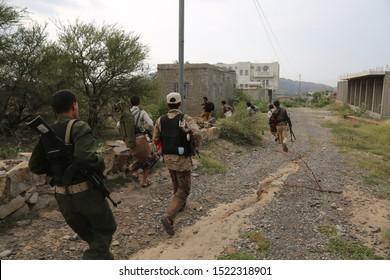 Taiz / Yemen - 19 Aug 2016 : Attack of the resistance and the National Army in a battle against  Houthis in the west of the Taiz City, Yemen