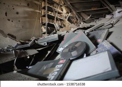 Taiz / Yemen - 22 Dec 2015 : Al-Houthi militia destroyed radio and television building in Taiz city .