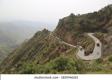 Taiz / Yemen - 23 Sep 2020: Hajjah Al-Abed Road is the only road that connects the city of Taiz with the city of Aden in southern Yemen due to the war and the siege of the Houthi militia to Taiz city