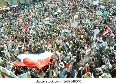 Taiz / Yemen - 28 Feb 2011: Mass crowds at Freedom Square in the Yemeni city of Taiz in the Arab Spring Revolution 2011