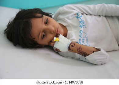 Taiz / Yemen - 29 June 2017 : A child suffering from cholera in Taiz, Yemen.