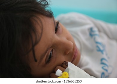 Taiz / Yemen - 29 June 2017 : A child suffering from cholera in Taiz, Yemen