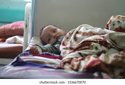 Taiz / Yemen - 29 June 2017 : A child suffering from cholera in Taiz