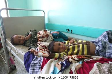 Taiz / Yemen - 29 June 2017 : A child suffering from cholera in Taiz, Yemen.