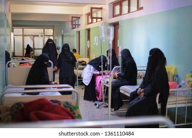 """Taiz / Yemen - 4 Apr 2019: Poor women suffer from cholera epidemic in Taiz."""