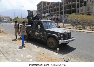 """Taiz / Yemen - Jan 07 2019: A military vehicle carrying one of the heavy weapons in its war in Yemen"""