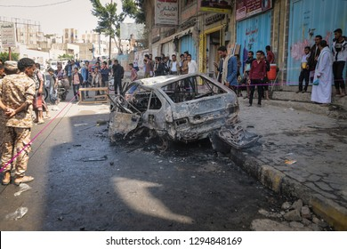 """Taiz / Yemen - Jan 22 2019: A mortar shell fired by al-Houthi militia on the agricultural road in the center of Taiz, killing one woman, wounding 11 others and burning a car completely"""