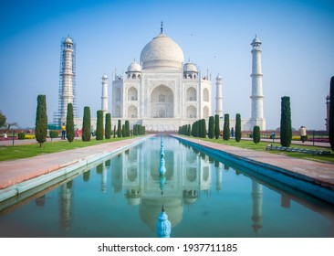 Taj Mahal, Agra, India - 10 March 2021:Front view of Taj Mahal which is located in Agra in India