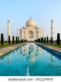 Taj Mahal in Agra, India at dawn, moments after sunrise