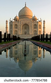 The Taj Mahal - Agra - India. The Taj Mahal is a mausoleum built by the Mogul emperor Shah Jahan in memory of his favorite wife. Completed about 1649. A UNESCO World Heritage Site.
