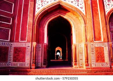 Taj Mahal, Agra, India. Pattern, background. Arc - arabic style. Beautiful wall.