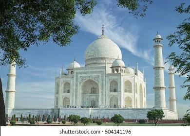 Taj Mahal, Agra, India. Seven world wonders. Beautiful Tajmahal travel destination