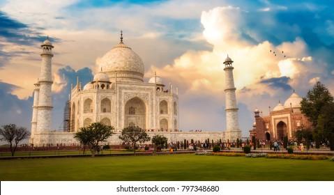 Taj Mahal Agra at sunset with moody sky. Taj Mahal is a UNESCO World Heritage site.